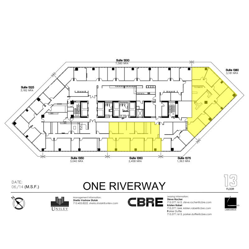 Floor plan for 13th floor design